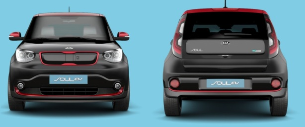 I love this color combination: The 2015 Kia Soul EV in Cherry Black with Inferno Red trim/roof.