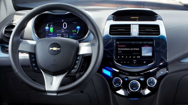The color screen does everything but navigation. The stereo system is kind of weak, but it's adequate and since the car is very quiet inside, you don't need tons of power to drown out a noisy ICE. At least the Spark EV has single-zone automatic climate control that seemed to work well.