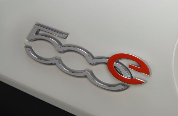 The unique badge for the Fiat Chrysler's first electric car, the Fiat 500e.