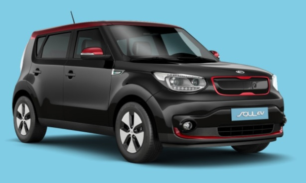 2015 Kia Soul EV in Black with Inferno Red trim. Sharp!