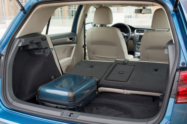 Plenty of cargo space in the e-Golf, same as the regular 4-door Golf hatchback.