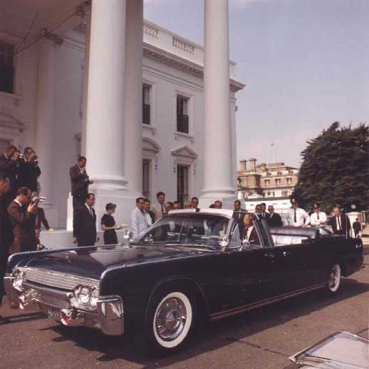 "1961 Lincoln Continental Presidential Parade Car dubbed USSS  or ""SS 100 X.""  The SS stands for Secret Service."