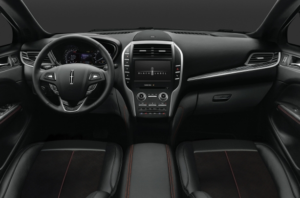 "The interior of a 2015 Lincoln MKZ with the Black Label package. This ""theme"" is called Center Stage."